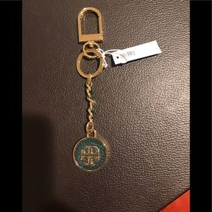 Authentic NWT Tory Burch Mercer leather inlay fob